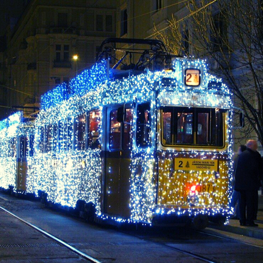 Travel on a Christmas decorated Tram budapest